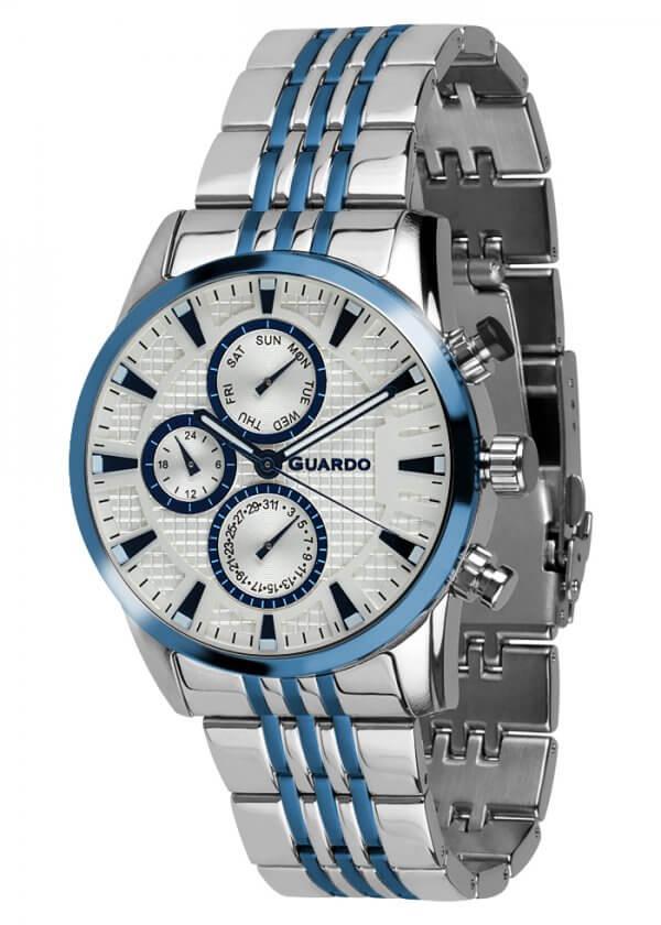 Zegarek Guardo 011653-2 Srebrny / Niebieski