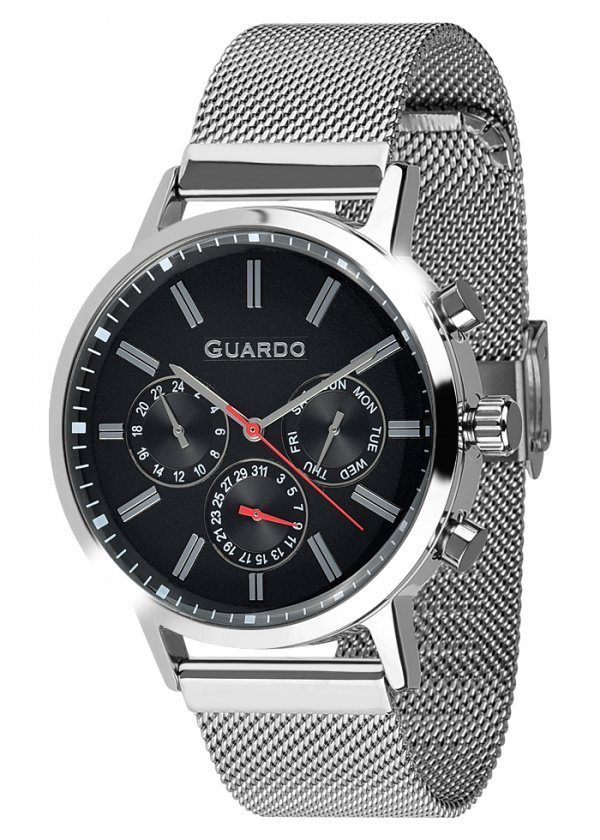 Zegarek Męski Guardo Premium 012077-2 na bransolecie mesh