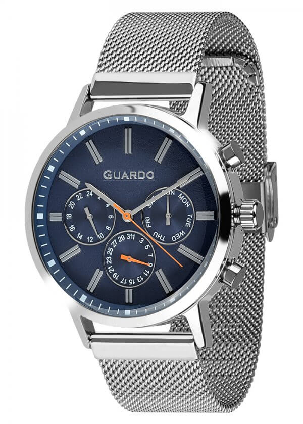 Zegarek Męski Guardo Premium 012077-3 na bransolecie mesh