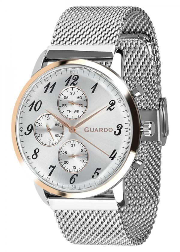 Zegarek Męski Guardo Premium 012238-5 na bransolecie mesh