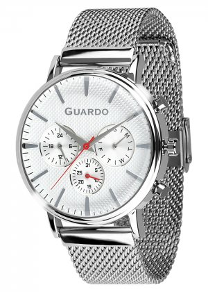 Zegarek Męski Guardo Premium 012445-2 na bransolecie mesh