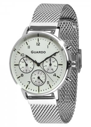 Zegarek Męski Guardo Premium B01116-2 na bransolecie mesh